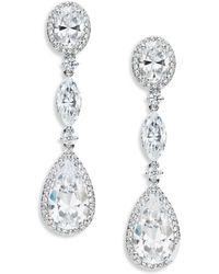 Nadri - Cubic Zirconia Linear Drop Earrings - Lyst