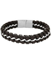 Lord & Taylor - Stainless Steel Intertwine Link Leather Bracelet - Lyst