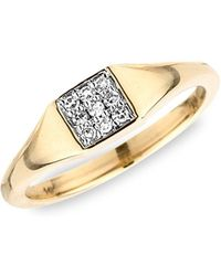 Adina Reyter - 14k Yellow Gold And Small Pave Square Diamond Signet Ring - Lyst