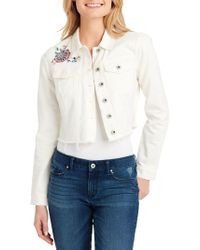 Jessica Simpson - Classic Distressed Cropped Denim Jacket - Lyst
