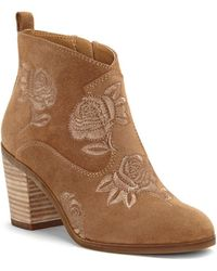 Lucky Brand - Pexton Embroidered Ankle Boots - Lyst