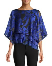 964d9c2f4e9 Alex Evenings Embellished Mesh Blouse in Blue - Lyst