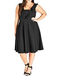 City Chic - Plus Flirty Flutter Dress - Lyst