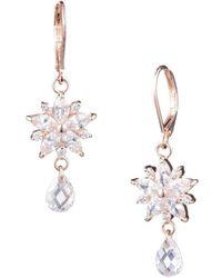 Anne Klein - Rose Goldtone And Crystal Drop Earrings - Lyst