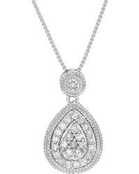 Lord & Taylor - Diamond And Sterling Silver Teardrop-shape Pendant Necklace - Lyst