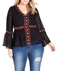 City Chic - Wonderlust Embroidered Detail Blouse - Lyst
