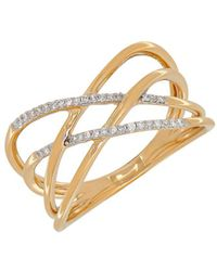 Lord & Taylor - Andin 14k Gold Diamond Pave Interwoven Ring - Lyst