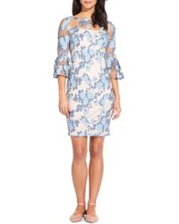 Adrianna Papell - Arie Floral Bell Sleeve Sheath Dress - Lyst