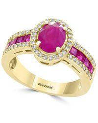Effy - Amoré Natural Ruby, Diamond & 14k Yellow Gold Ring - Lyst