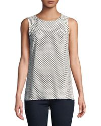 Jones New York - Polka Dot Zip Blouse - Lyst