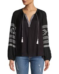 Lucky Brand - Self-tie Embroidered Top - Lyst