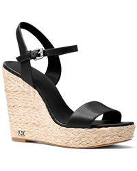 MICHAEL Michael Kors - Jill Leather Wedge Sandals - Lyst