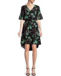 Isaac Mizrahi New York - V-neck Smocked Waist Flounce Sleeve High-low Hem Dress - Lyst