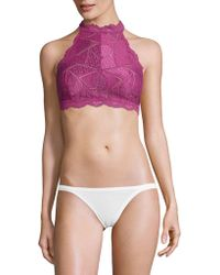 Free People - Lace-trimmed Halter Bralette - Lyst