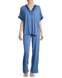 N Natori | Satin-trimmed Jersey Knit Pajama Set | Lyst