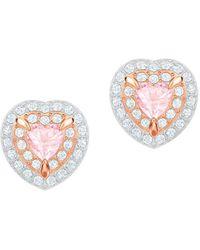 Swarovski One Stud Pierced Earrings - Pink