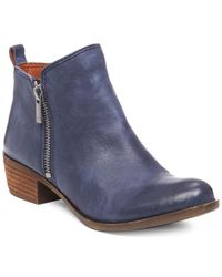 Lucky Brand - Basel Smooth Leather Zip Booties - Lyst