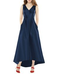 Alfred Sung - Full Length Sleeveless V-neck Sateen Twill Hi-lo Dress - Lyst
