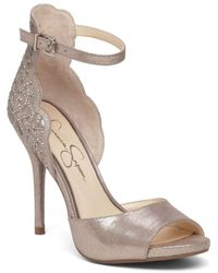 Jessica Simpson - Bellona Scalloped Leather Sandals - Lyst