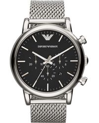 Emporio Armani - Round Stainless Steel Chronograph Watch - Lyst
