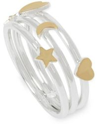 BCBGeneration - Starry Night Two-tone Mixed Moon & Star Multi-row Ring - Lyst