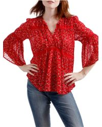 Lucky Brand - Swiss Dot Ditsy Bell-sleeve Blouse - Lyst