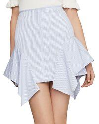 BCBGMAXAZRIA - Pinstripe Asymmetric Flared Cotton Pencil Skirt - Lyst