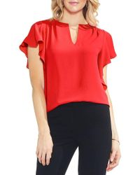 Vince Camuto - Split-neck Flutter-sleeve Top - Lyst