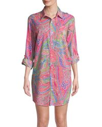 Lauren by Ralph Lauren - Printed Roll-up Sleeve Sleepshirt - Lyst