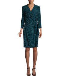 Anne Klein - Printed Three-quarter Sleeve Wrap Dress - Lyst