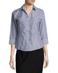 Foxcroft - Striped Cotton Button-down Shirt - Lyst