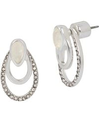 Kenneth Cole - Power Of The Flower Crystal And Mother-of-pearl Front Back Earrings - Lyst