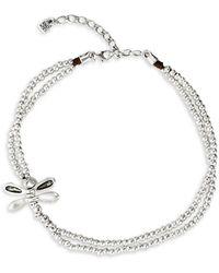 Uno De 50 Little Dragonfly Swarovski Crystal Layered Choker Necklace - Metallic