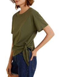 Mango - Bow Cotton T-shirt - Lyst