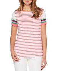 Rafaella - Striped Short Sleeve Top - Lyst