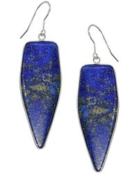 Lord & Taylor - Sterling Silver And Lapis Drop Earrings - Lyst