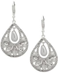 Ak Anne Klein - Silvertone With Glass Stone And Faux Pearl Cluster Earrings - Lyst