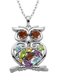 Lord + Taylor - Multi-stone Owl Pendant Necklace - Lyst