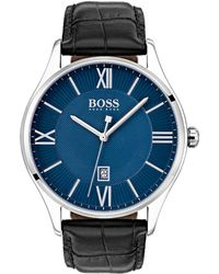 BOSS - Leather-strap Watch With Two-level Dial - Lyst