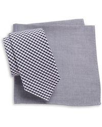 Tallia Orange - Gingham Tie And Pocket Square Set - Lyst