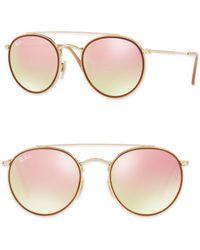 Ray-Ban - 51mm Mirrored Round Double Bridge Sunglasses - Lyst