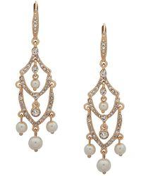 Anne Klein - Gold-tone Crystal & Imitation Pearl Chandelier Earrings - Lyst