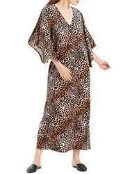 N Natori - Leopard Print Velvet Long Caftan - Lyst