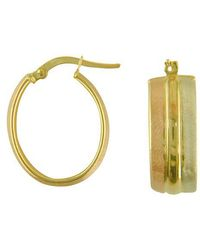 Lord & Taylor - 14 Kt. Two Toned Polished Hoop Earrings - Lyst