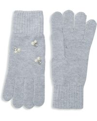 Lord & Taylor - Beaded Knit Gloves - Lyst