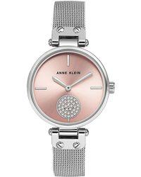 Anne Klein - Silvertone Stainless Steel & Swarovski Crystal Mesh Bracelet Watch - Lyst