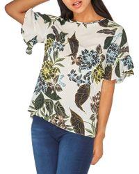 Dorothy Perkins - Printed Ruffle-sleeve Top - Lyst