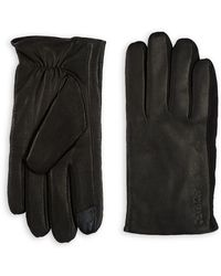 Calvin Klein - Leather-suede Contrast Gloves - Lyst