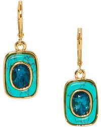 Vince Camuto - Goldtone & Blue Ombre Crystal Drop Earrings - Lyst