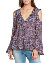 William Rast - Faye Ruffled Cold-shoulder Top - Lyst